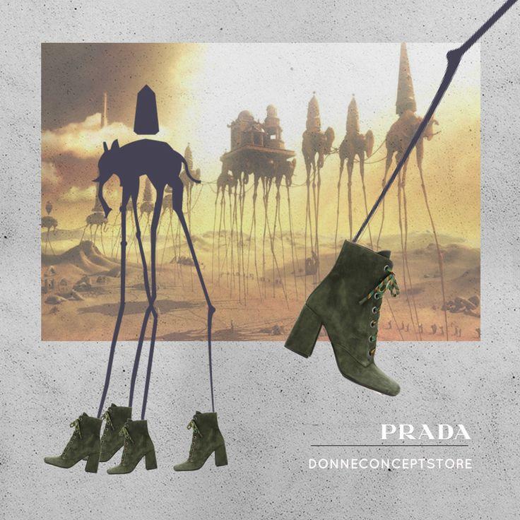 #Prada #ankleboots #militarygreen #Dalì #fallwinter2016 #suedeboots #elefanti