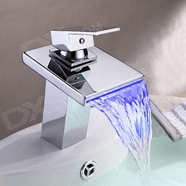 YDL-F-0527 High Quality Contemporary LED RGB Color Changing Bathroom Sink Faucet - Silver