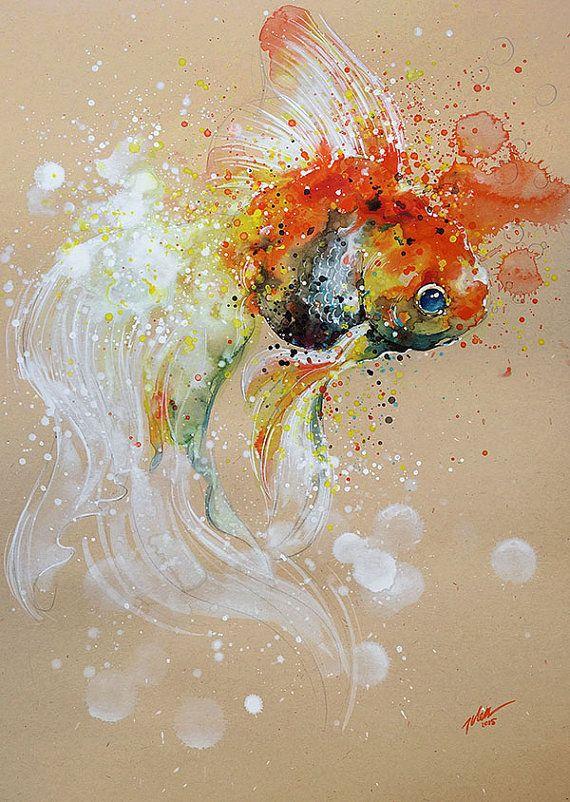 A Goldfishy Tale • watercolour • A3 • original painting by Tilen Ti mixed media 22Apr2015 29.7 x 42cm
