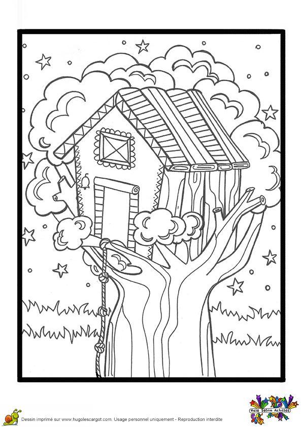 Dessin à colorier d'une cabane de jeux construite dans un arbre   Coloriage, Coloriage vacances