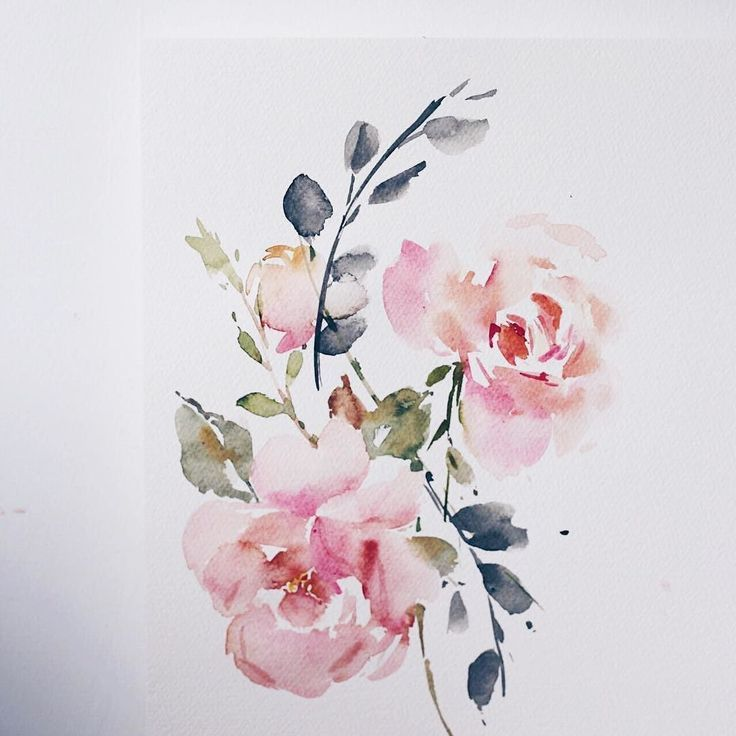 Wispy Roses Flower Paint Watercolour Art Painting
