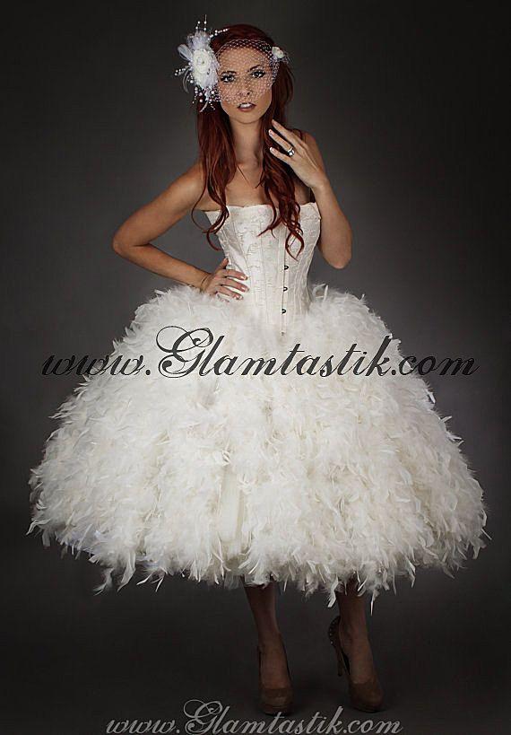 Personalizzato dimensione piccolo avorio Steampunk Burlesque corsetto piume e tulle nozze abito s-xl