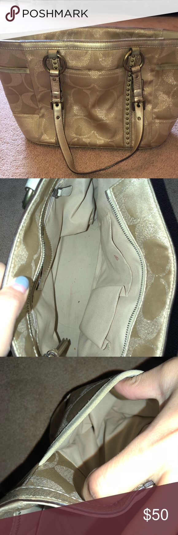 Gold coach pocketbook Good condition  Worn Leather straps look good Coach Bags Shoulder Bags
