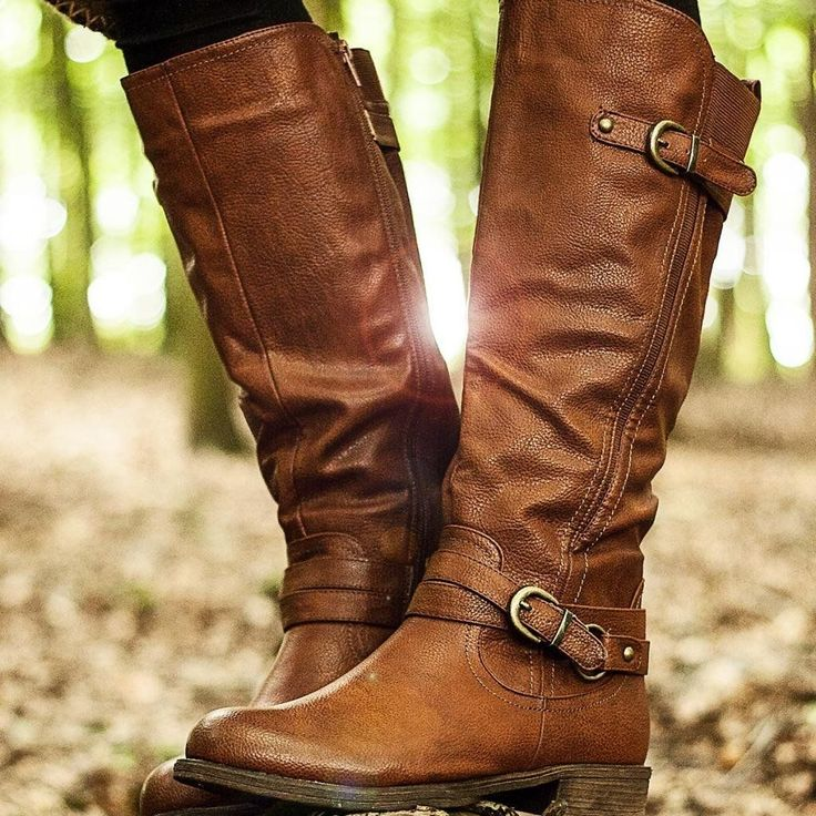 Would love a wide calf, knee high boot like these...Spy Love Buy STRUCK Flat Wide Calf Stretch Knee High Biker Boots