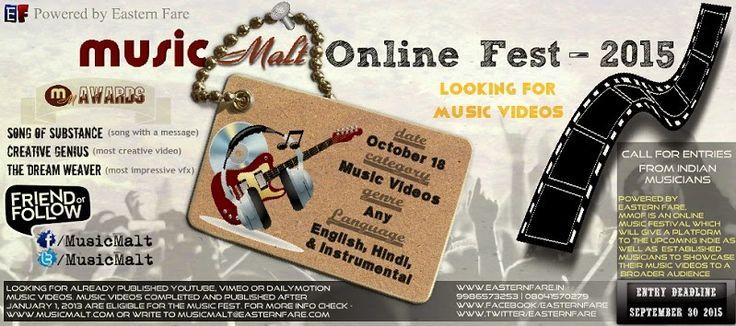 Call for entries | Music Malt Online Fest - 2015 | Music Malt   More - http://www.musicmalt.com/2015/03/music-malt-online-fest-2015.html