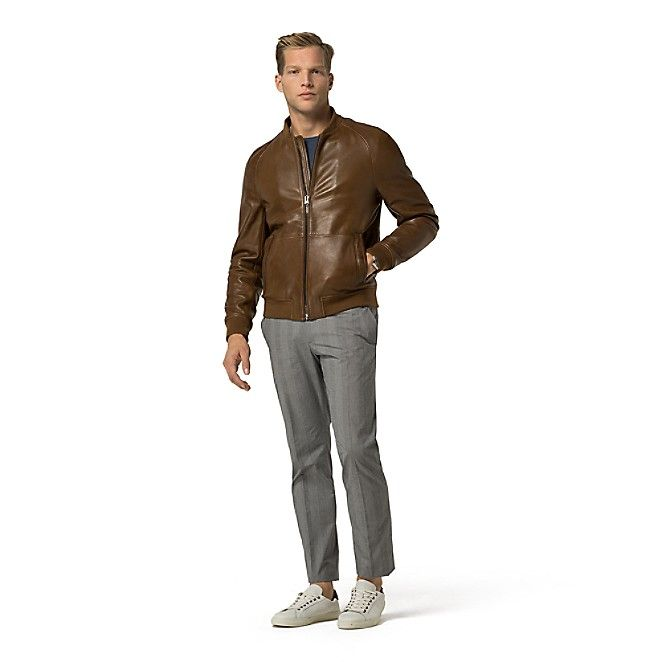 Image for TAILORED COLLECTION COGNAC LEATHER JACKET from Tommy Hilfiger