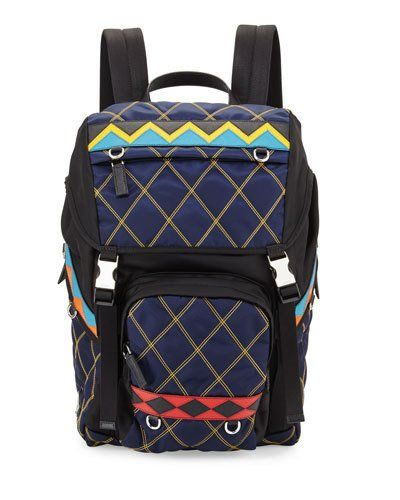 PRADA PATTERNED NYLON & LEATHER UTILITY BACKPACK, NAVY. #prada #bags #leather #nylon #backpacks #