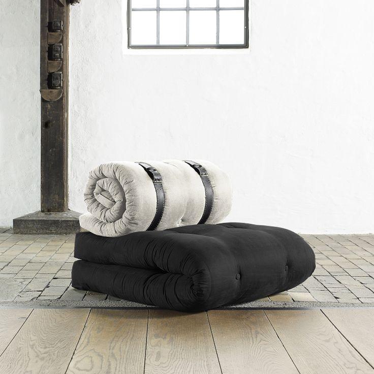 Chauffeuse Buckle Up - Futon noir / blanc naturel