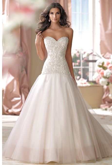 Wedding Dresses Modified A Line : Strapless organza and tulle full modified a line wedding dress