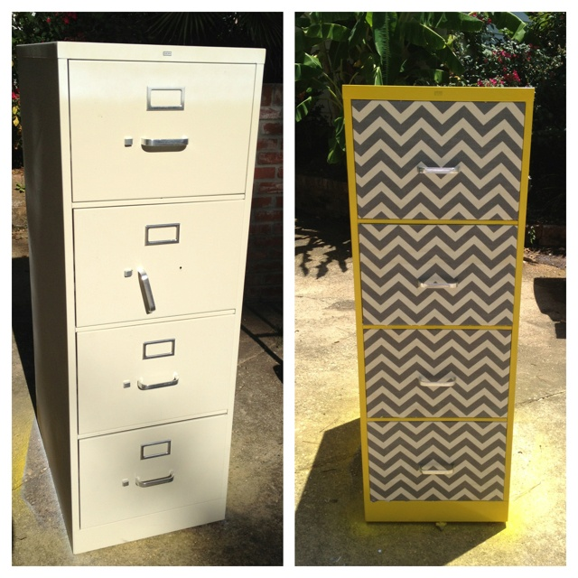Upcycle filing cabinet using spray paint, fabric and Modge podge. I am very proud of myself!