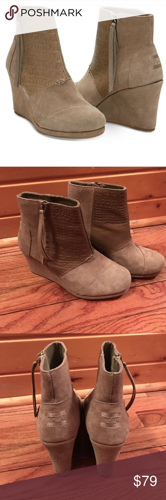 NEW TOMS Desert Wedges Size 8.5 Brand new without box! TOMS desert wedge highs. Size 8.5. Tan suede and croc embossed detail. More information in last picture 😊 no trades! Make an offer! TOMS Shoes Ankle Boots & Booties