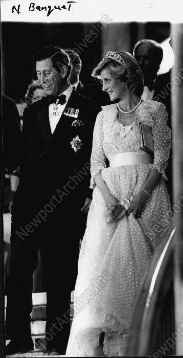 Prince Charles and Princess Diana 1983 leaving Royal Banquet Press Photo