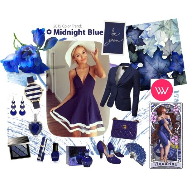 Midnight Blue Dress by giovanina-001 on Polyvore featuring J.TOMSON, Chanel, ASOS, Annoushka, Miadora, Burberry, Estée Lauder, Britney Spears, Deborah Lippmann and Pottery Barn