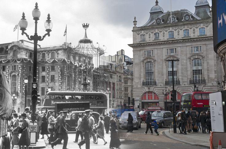Londres antes y ahora Piccadilly Circus