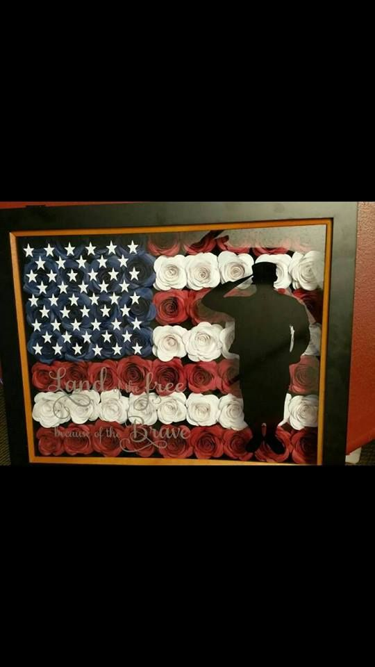 American flag flower shadow box with soldier silhouette