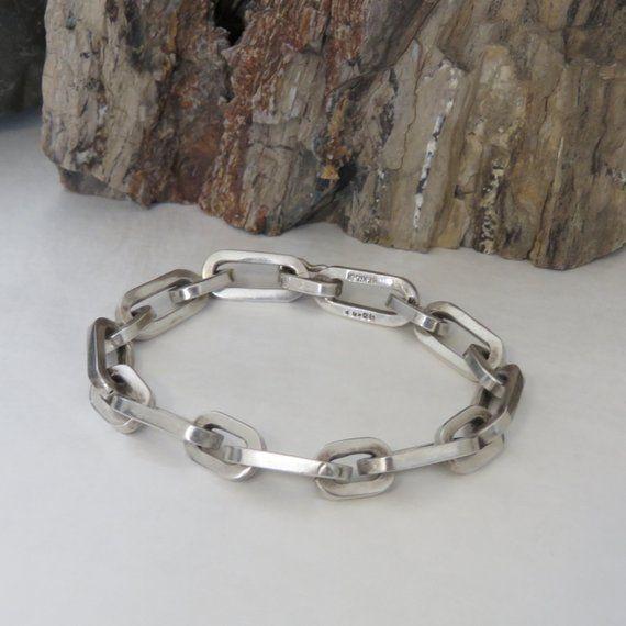 Unusual silver link bracelet