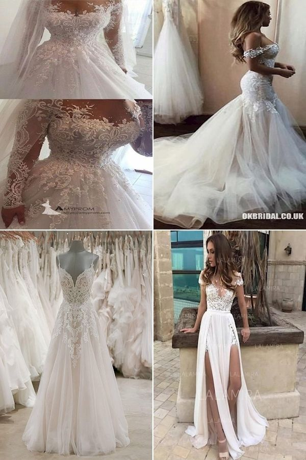 Discount Bridal Gowns Dresses Wedding Dresses Marriage Gown Online In 2020 Wedding Dress Sequin Floral Dresses With Sleeves Dresses