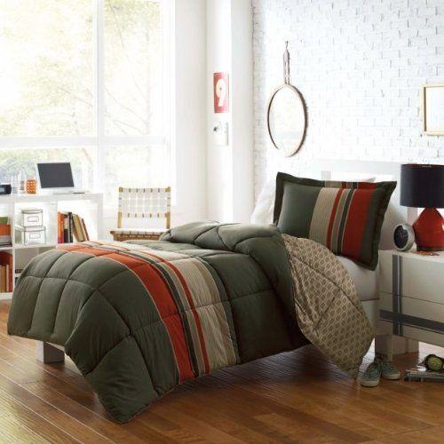 Boys Brown And Orange Bedding: Olive Green, Khaki & Orange Boys Striped Twin Comforter