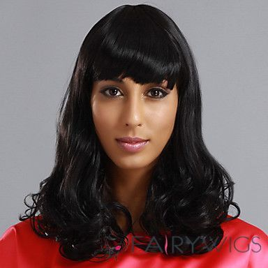 Cheap 16 Inch Capless Wavy Black Synthetic Hair Wigs