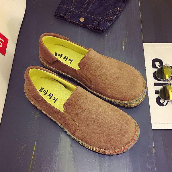 Большой размер Scrub Удобные повседневные круглые плоские туфли для женщин