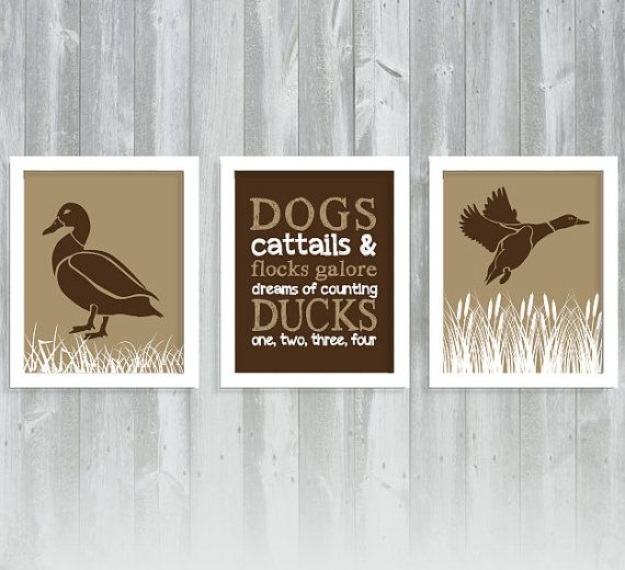 Duck Print Set - Boy Nursery - Hunting Nursery - Mallard Duck Print - Set of Three 8x10 Prints on Etsy, $32.95