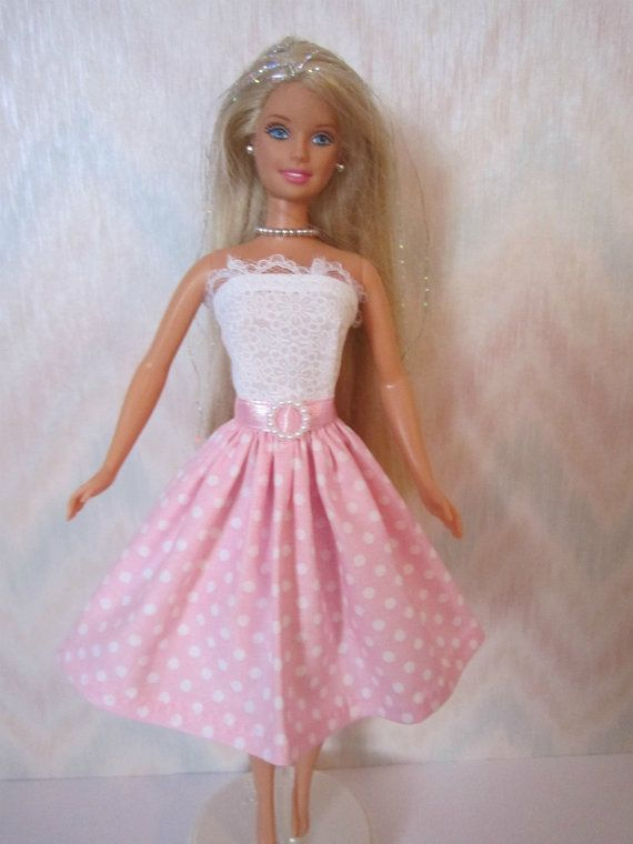 Handmade Barbie clothes - pink and white dress make belt with pink heart I got on ebay
