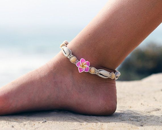 Cowrie Shell Anklet Beach Anklet Wood Beads Macrame by HempBeadery