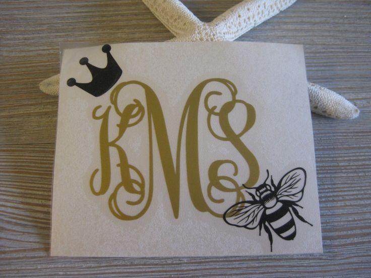 Queen Bee Monogram Car Decal - Monogram Queen Bee Car Decal - Monogram Car Decal - Monogram Decal - Car Decal - Queen Bee Decal - Bee Decal by TheSaltyKiss on Etsy https://www.etsy.com/listing/270927226/queen-bee-monogram-car-decal-monogram