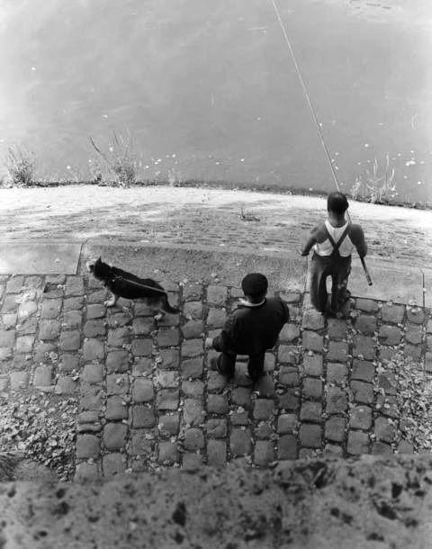 Pêcheur au bord de la Seine, Paris, 1949. By Izis Bidermanas