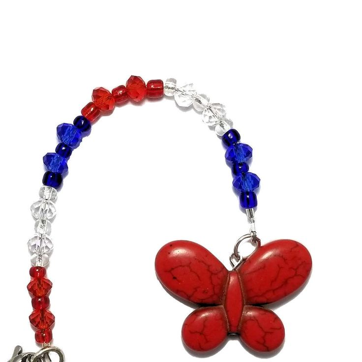 Hanging Rearview Mirror Car Charm – Patriotic Red, White and Blue Crystal Beads, Red Howlite Butterfly