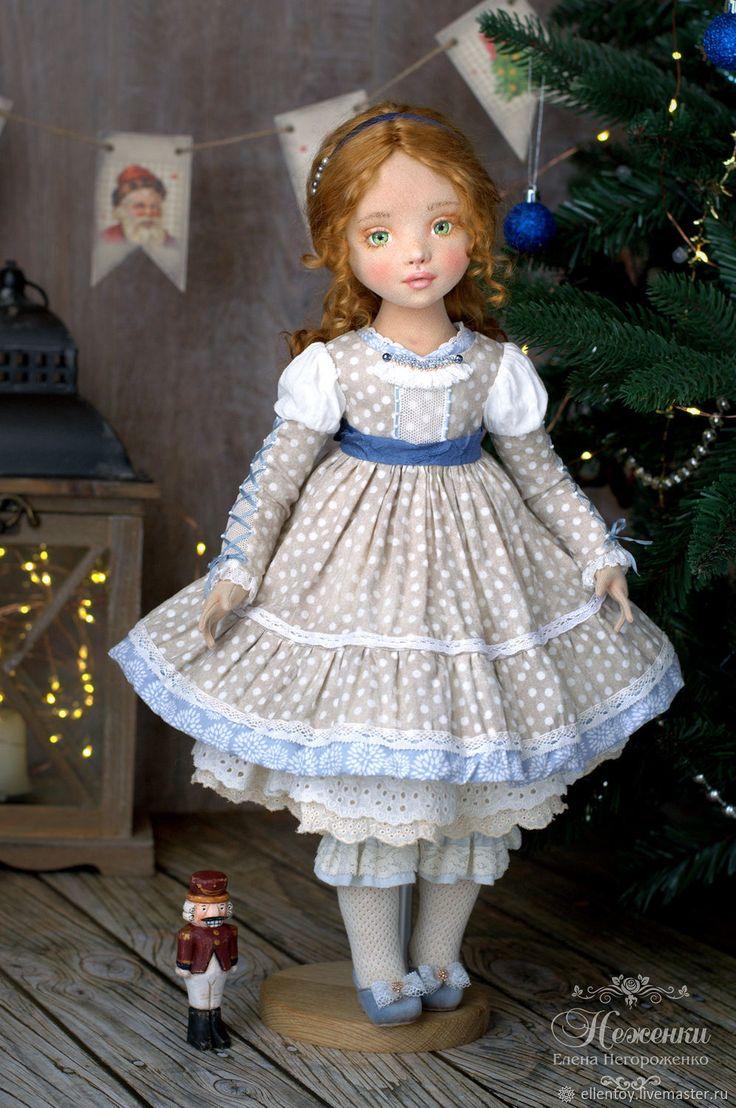 Купить Мари, текстильная коллекционная кукла - рождество, сказка, бежевый, голубой, рыжий, кукла