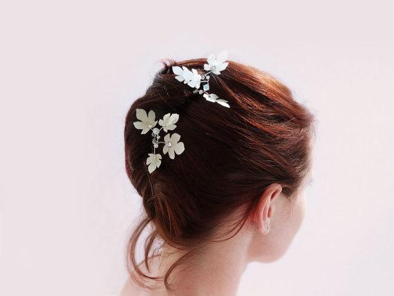 Fairy hairpins ivory silk leaves & Swarovski OOAK by par Joliejye, €35,00