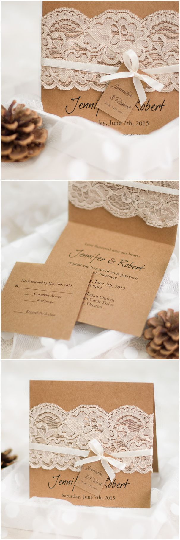 rustic wedding invitations with lace and ribbon