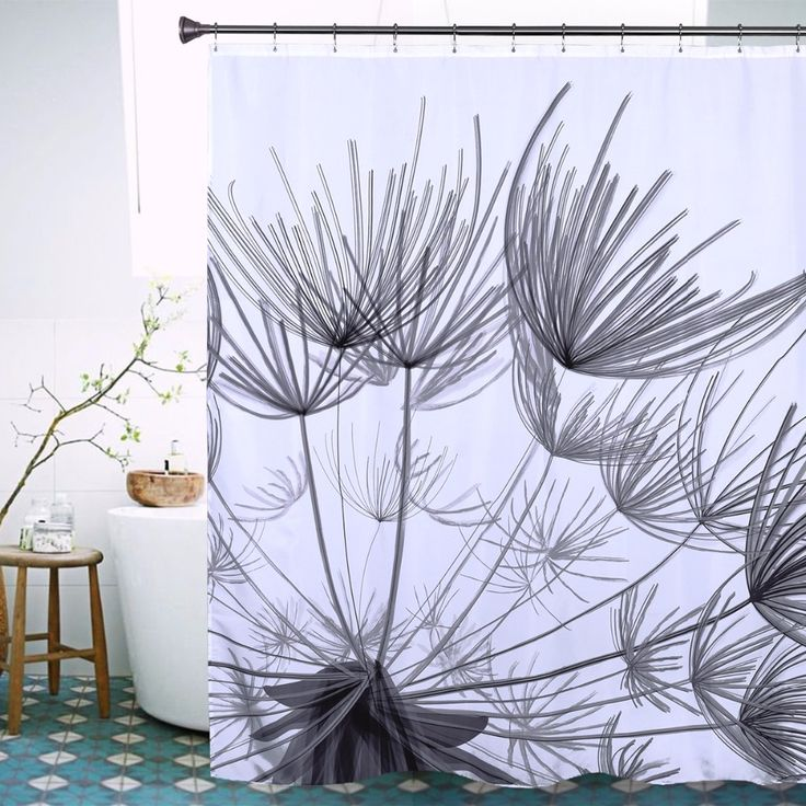 Black Dandelion Shower Curtain High Quality Polyester Waterproof Fabric Shower Curtain Modern Stylish Bath Curtain 72 X 78inch