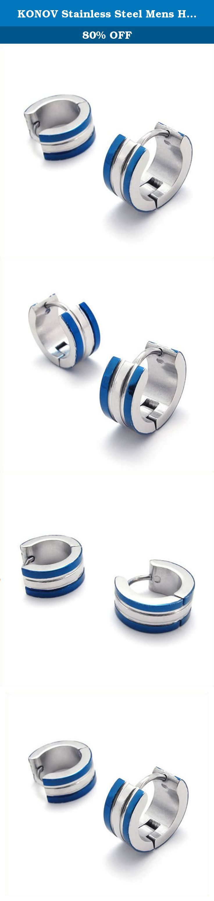 KONOV Stainless Steel Mens Huggie Hinged Hoop Stud Earrings Set, 2pcs, Color Blue Silver. Why choose Stainless Steel Jewelry? Stainless Steel jewelry does not tarnish and oxidize, which can last longer than other jewelries. It is able to endure a lot of wear and tear. And it is amazingly hypoallergenic. Such advantages make it a more popular accessory. Why need Stainless Steel Jewelry? High quality stainless steel has high resistance to rust, corrosion and tarnishing, which requires…