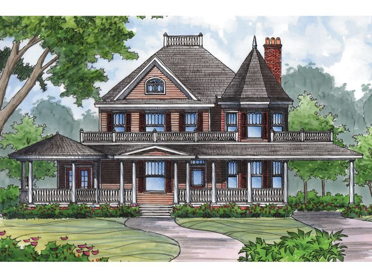 043H 0136 Striking Turret Highlights This Victorian House Plan