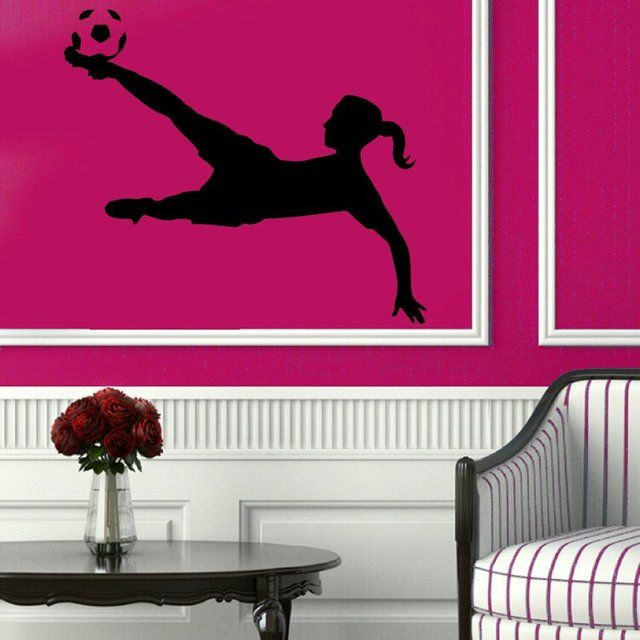 Unique Fancy Soccer Wall Decals Girl Football Player Sport Gym Wall Decor Decal Vinyl Sticker Home