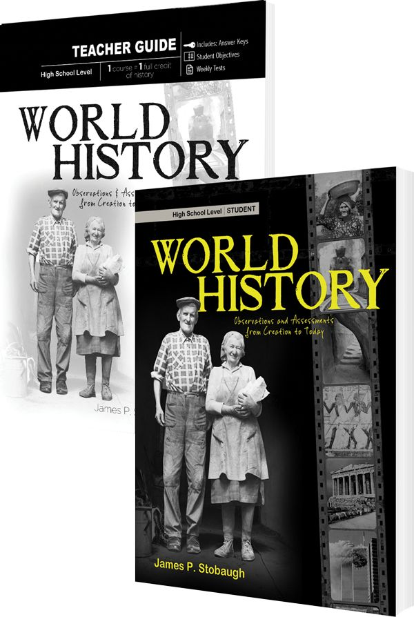 World History Set available at Master Books. Students will develop a Christian worldview while forming his or her own understanding of world history trends, philosophies, and events. Examinations of historical theories, terms, and concepts.