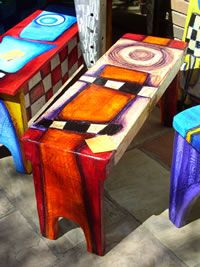 Cheerfully painted benches... check the site!