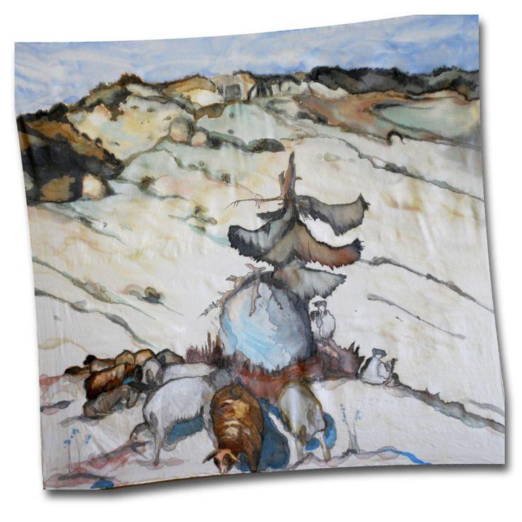 """Hodvábna šatka """"Salaš"""" s motívom od svetoznámeho maliaar, grafika a ilustrátora Martina Benku. Martin Benka bol polyhistorom umenia, maliarom, ilustrátorom, grafikom, pedagógom, ale aj naivným hudobníkom a skladateľom. Je pokladaný za zakladateľa moderného slovenského výtvarného umenia. Bol zanieteným propagátorom Slovenska, slovenskej krajiny a života prostého ľudu.  http://bit.ly/1pbEyX4"""