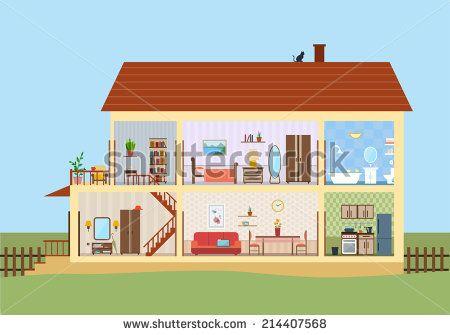 Best Work Images On Pinterest Flat Illustration House Vector - Big cartoon house