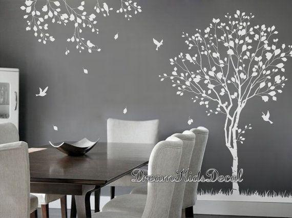 Natürlichen Baum Baum Abziehbild weißen Baum Vögel