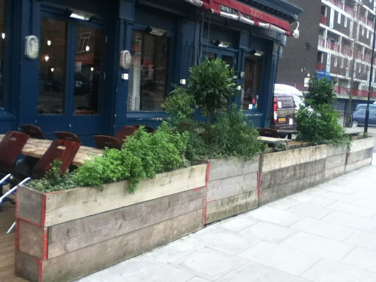 Raised bed and tables from reclaimed scaffolding boards // Duke's, London N1