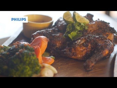 Philips Airfryer Recipe - Spicy Roast Chicken - YouTube - Step by step video