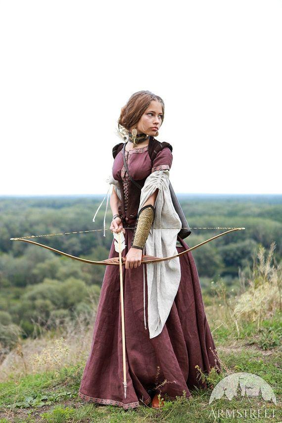 Medieval Renaissance Custom Linen Dress Archeress by armstreet