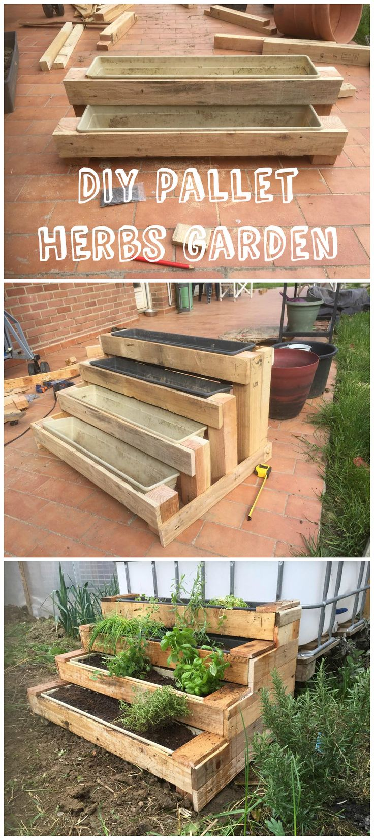 Here is an original version of asmall herbs garden. The stairs shape is perfect to save space and avoid backaches!