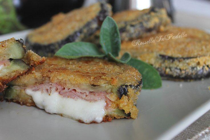 Cordon bleu di melanzane in padella o al forno with procuitto and mozzarella