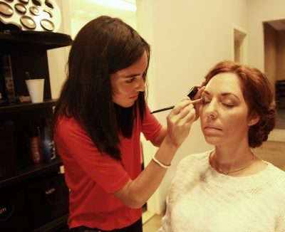 Preparing for our 20's hairshow, makeup by Carolina using Glo Minerals.