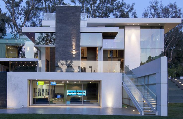 Gorgeous Green Modern Beverly Hills Home With A Bowling Alley That Has An Underground View of The Pool. - if it's hip, it's here