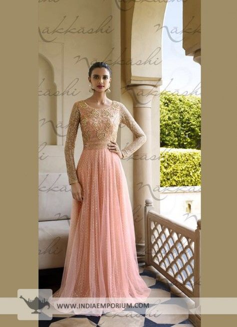 Pink Orante Net Anarkali Suit with Embroidery